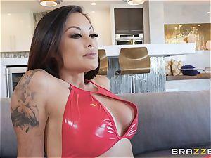 wondrous Kaylani Lei in red leathers