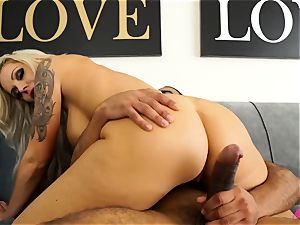 huge-boobed blondie Nina Elle taking a big ebony knob