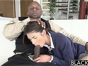 BLACKED Real Model with perfect melons enjoys ebony knob