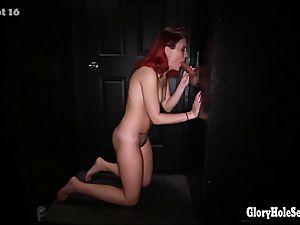weird girls deep-throating cum out of schlongs in a gloryhole