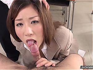 ultra-kinky educator blowing off her schoolgirls