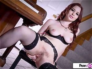 watch Jessica strip down and pleasure her rosy labia