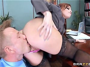 ginger-haired boss Britney Amber smashes a crazy worker