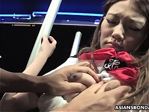 obedient lady Aoi Yuuki got her globes and cunt toyed