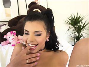 Real teenage latina Gina Valentina takes hefty pipe in her hairy labia