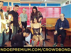 CROWD bondage - brunette victim girl fetish public fuck-a-thon