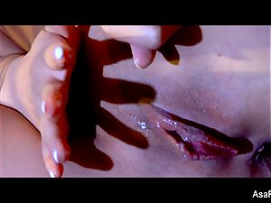 epic Asa Akira takes a yam-sized dark-hued rod