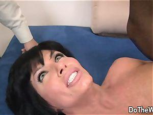 dark haired wifey takes humungous black man meat