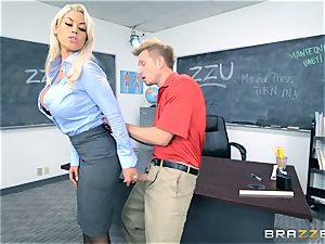 schoolteacher Bridgette B gets her college girl to spunk on her huge-chested globes