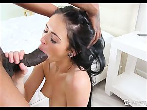 Raven haired Milly Austin gets her first ebony bone