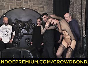 CROWD bondage - extraordinary sadism & masochism pummel wheel with Tina Kay