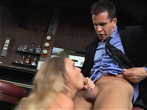 Alexis Adams pokes the boss in the bar