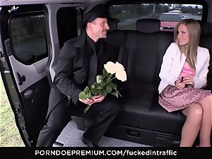 pounded IN TRAFFIC - jizm on caboose for crazy slender blond