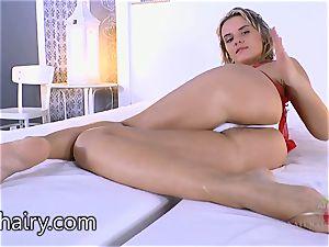 Regina looks fine in red lingerie