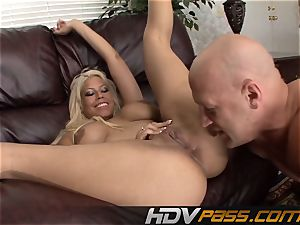 Bridgette with large breasts likes rump tonguing