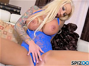 blonde big-titted honey Lolly Ink solo getting off