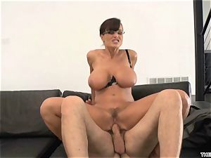 Lisa Ann gets her face drizzled with ginormous fuck-stick cream