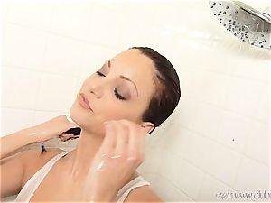 super hot Jayden Cole gets soaking wet in the douche