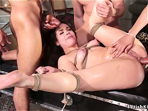 buttfuck gangbang black-haired in wire restrain bondage