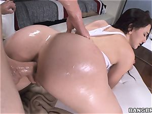 ample bum black-haired Mandy Muse railing cock