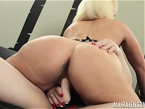 Alura Jenson poon filled with belt cock powerful muscled gal Brandi May