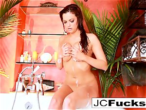outstanding tub solo with super-sexy red-haired Jayden Cole