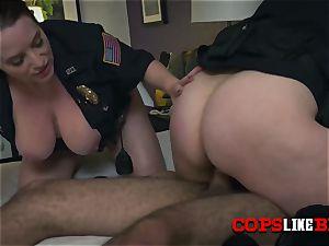 deviant milf cops catch trespasser and make him pulverize their vulvas