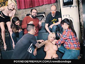 CROWD restrain bondage - submissive blond Fesser harsh bondage & discipline fuckfest