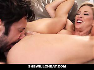 SheWillCheat cuckold wife Gags on manstick