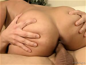 huge-boobed cougar plumbed rock-hard