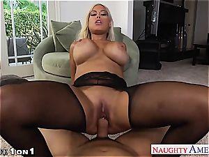 crazy Bridgette B. takes his pillar between her boobies